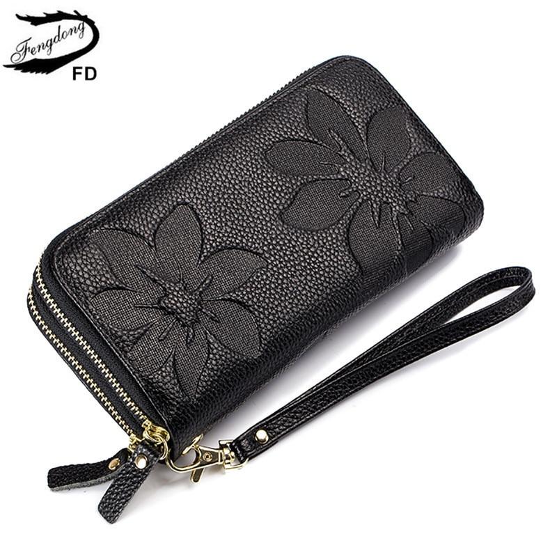 FengDong Ladies Big Card Wallet Women Genuine Leather Phone Wallet Girl Gift Female Big Money Bag Vintage Flower Leather Purse