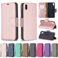 Lychee Texture Style PU Leather Flip Wallet Case for xiaomi Redmi 6 6A Redmi 7A Soft Silicone Phone Cover Skin Coque Funda