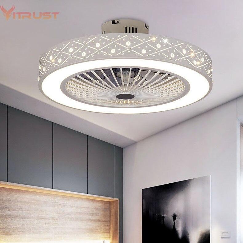 พัดลมเพดานโมเดิร์นไฟห้องนอนห้องนอนLivingรีโมทคอนโทรลพัดลมโคมไฟที่มองไม่เห็นโคมไฟเพดานพัดล...