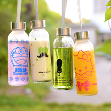 Glass cup frosted creative 300ml transparent cartoon glass