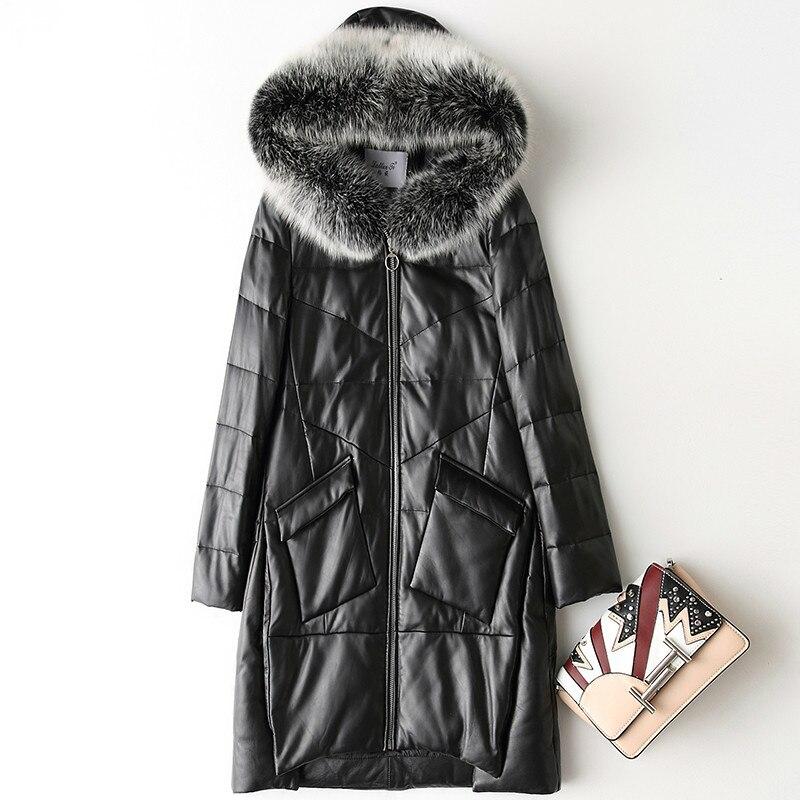 Spring Autumn Real Genuine Leather Jacket Women Clothes 2020 Fox Fur Collar Sheepskin Down Coat Korean Vintage X-08-1 ZT2966