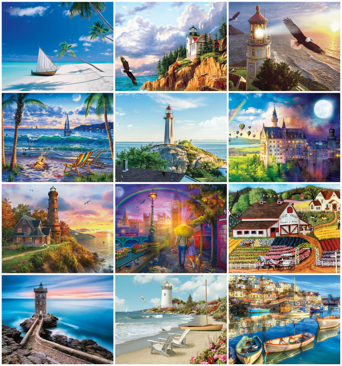 HUACAN Picture By Numbers Scenery Acrylic Drawing Canvas Oil Painting Home Decoration Art Unique Gift