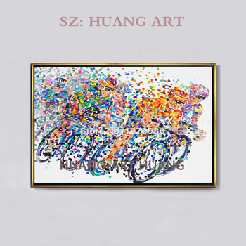 Abstract hand-painted high quality bike painting knife painting on the canvas painting bike household to decorate the wall of th
