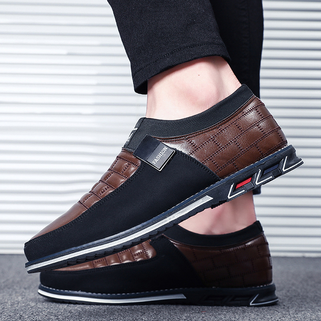 2019 New Big Size 38-48 Oxfords Leather Men Shoes Fashion Casual Slip On Formal Business Wedding Dress Shoes Drop Shipping 5