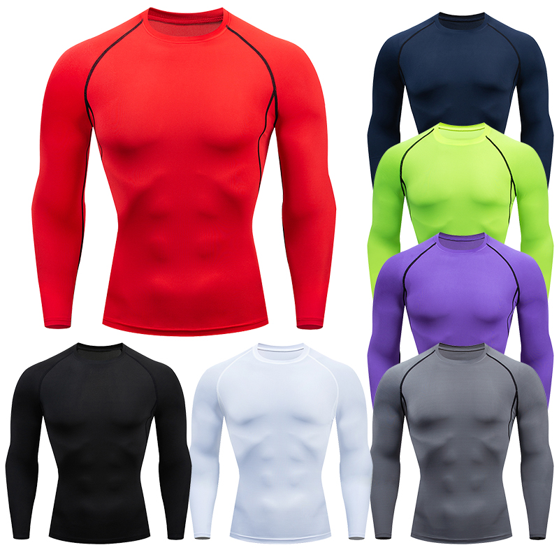 Erkekler sıkıştırma koşu T gömlek spor sıkı uzun kollu spor T Shirt eğitim koşu gömlek spor spor hızlı kuru döküntü bekçi