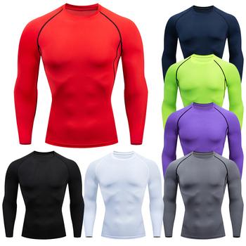 Męska koszulka kompresyjna do biegania Fitness dopasowana długa koszulka sportowa koszulka treningowa do biegania koszule odzież sportowa na siłownię Quick Dry rashgard tanie i dobre opinie SHEDAO Wiosna Lato AUTUMN Winter Poliester Pasuje prawda na wymiar weź swój normalny rozmiar O-neck Long Sleeve Black White Red Blue Purple Gray Green