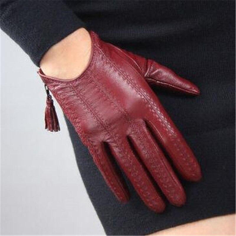 Women's Genuine Leather Gloves Red Classic Goatskin Touch Screen Gloves Tassel Zipper Short Leather Glove