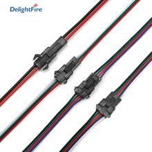 Sm jst conector 22awg 2/3/4/5pin 5/10/20/50/100 pares cabo de extensão led macho aos fios femininos para 3528 5050 rgb rgbw tira conduzida