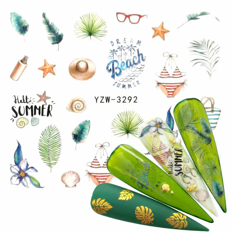 1 Vel Aquarel Eenvoudige Bloemen Bloem Nail Sticker Gel Wraps Decal Manicure Decor Kerst Water Transfer Slider Folie
