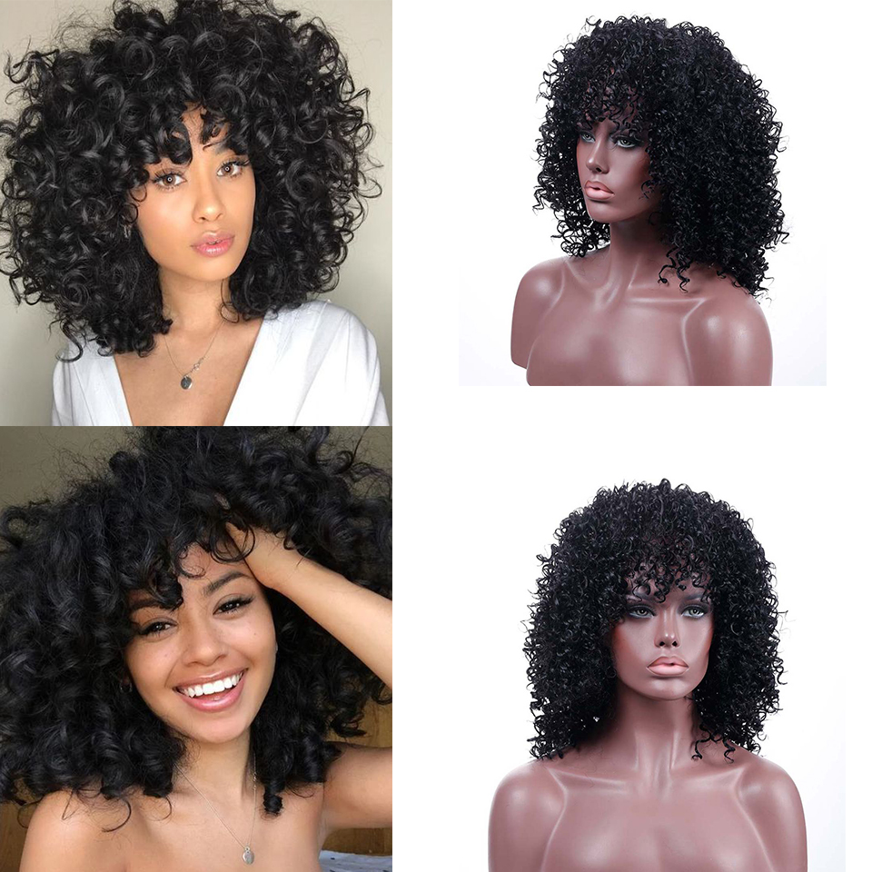 BUQI Short Loose Curly Wigs For Black Women Peruvian Remy Bouncy Curly Simulation Human Hair Synthetic Wigs Free Shipping