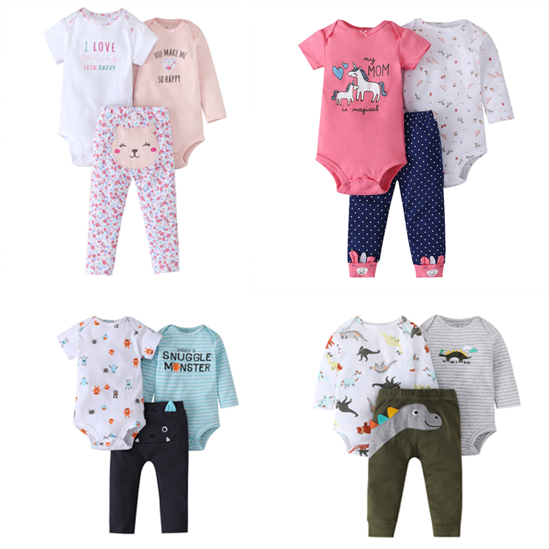 baby girl clothes cartoon unicorn romper+long sleeve bodysuit+pants 2020 newborn boy infant clothing new born babies summer set