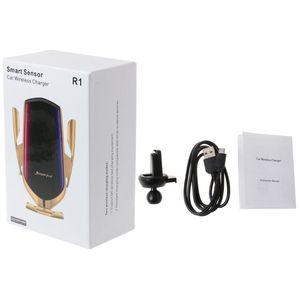 Image 1 - 스마트 자동 R1 적외선 센서 자동차 무선 충전기 홀더 아이폰 갤럭시 삼성 Xiaomi 휴대 전화 Brac 마운트 클램핑
