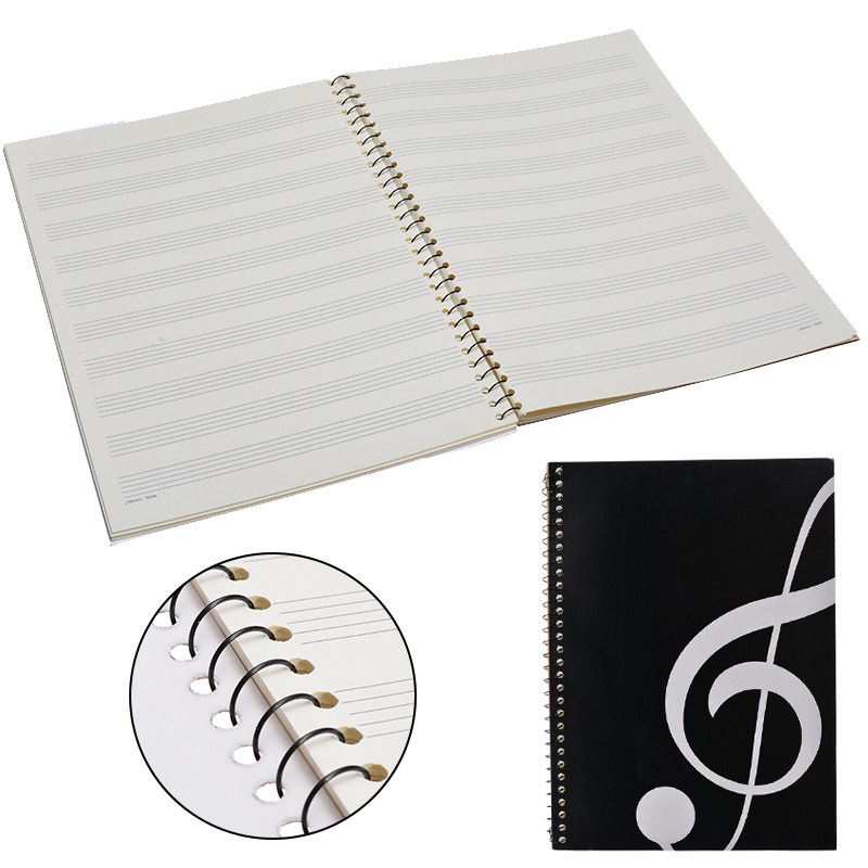 100 Pages Blank Music Score Manuscript Book Writing Stave Notebook Piano Keyboard Black Notebook A4 50 Sheets 100 Pages