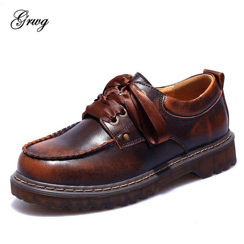 GRWG 2019 mode femme printemps automne plat Oxford chaussures Style britannique Vintage chaussures doux en cuir véritable décontracté rétro Brogues