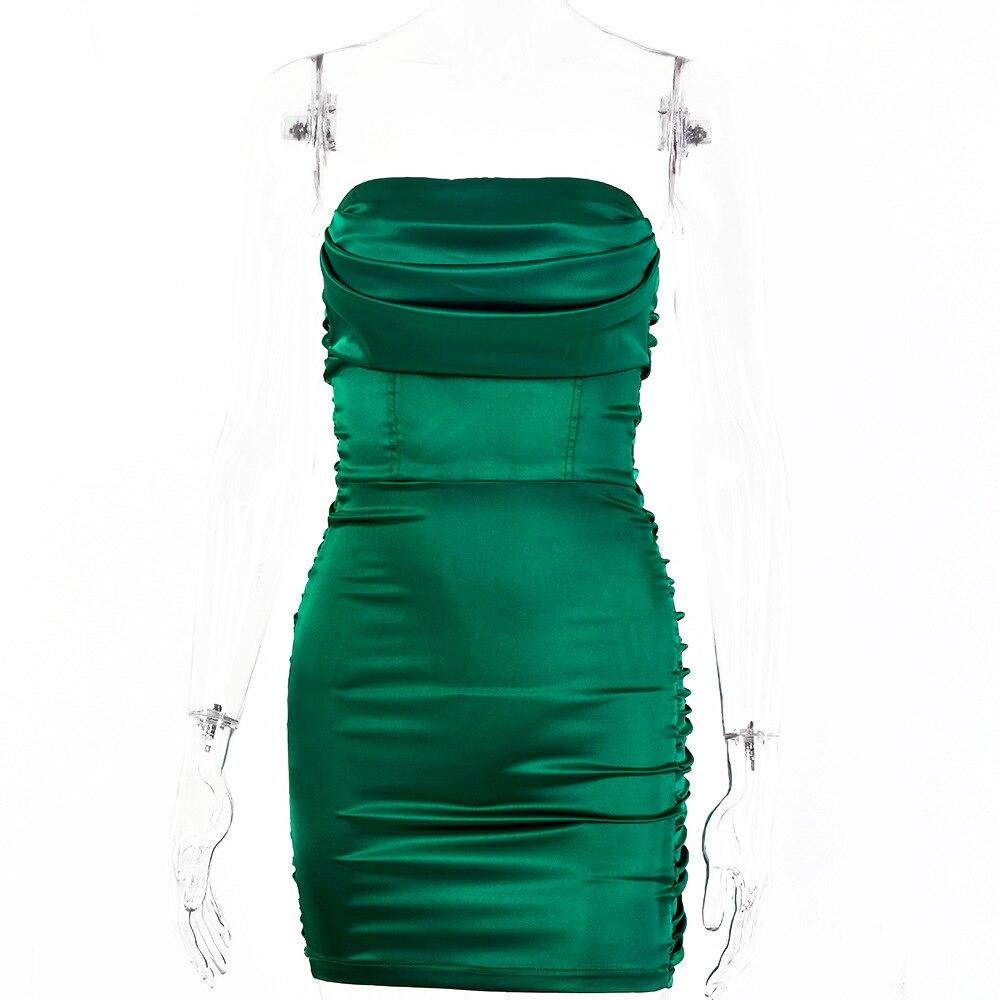Summer Sexy Off Shoulder Strapless Satin Dress Women Backless Bodycon Silk Party Dress Sleeveless Ruched Short Club Mini Dress 9