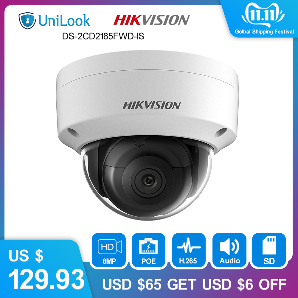 Hikvision 8MP Dome IP Camera PoE Outdoor Weatherproof IP67 CCTV Security Surveillance Night Vision IR 30M DS-2CD2185FWD-IS