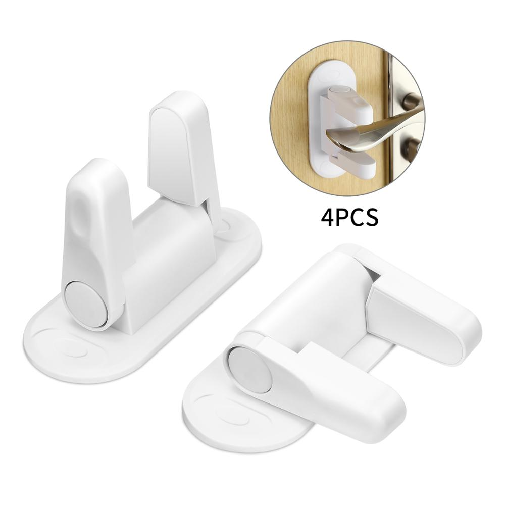 Improved Childproof Door Lever Lock 4-Pack Prevents Toddlers From Opening Doors Easy Operation For Adults Durable ABS