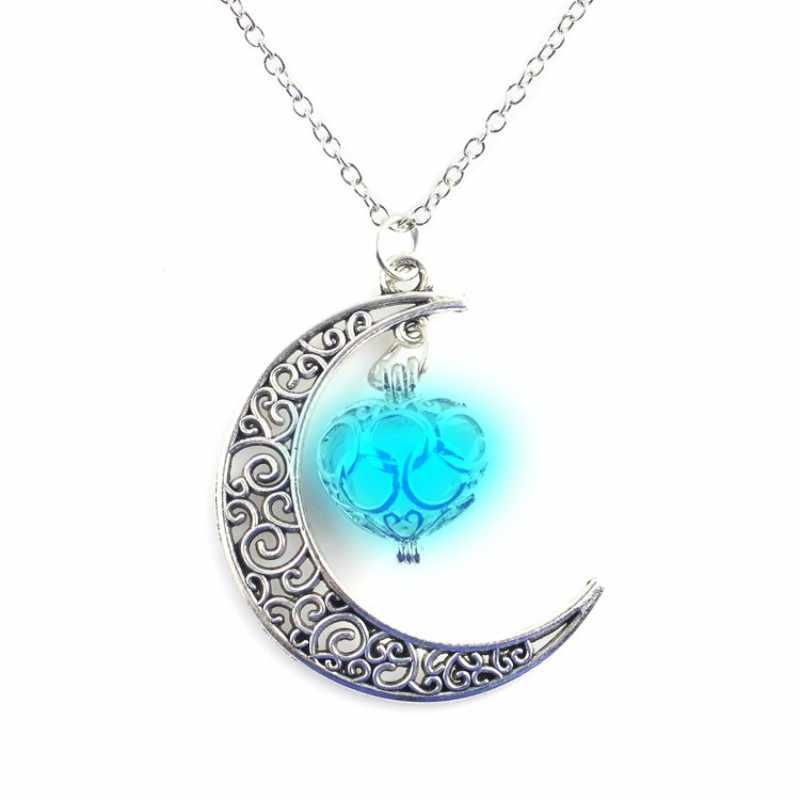 สาว 2019 ใหม่แฟชั่นฮาโลวีน Hollow Luminous สร้อยคอดวงจันทร์เรืองแสงของขวัญอัญมณี Charm Silver Plated เครื่องประดับสร้อยคอ