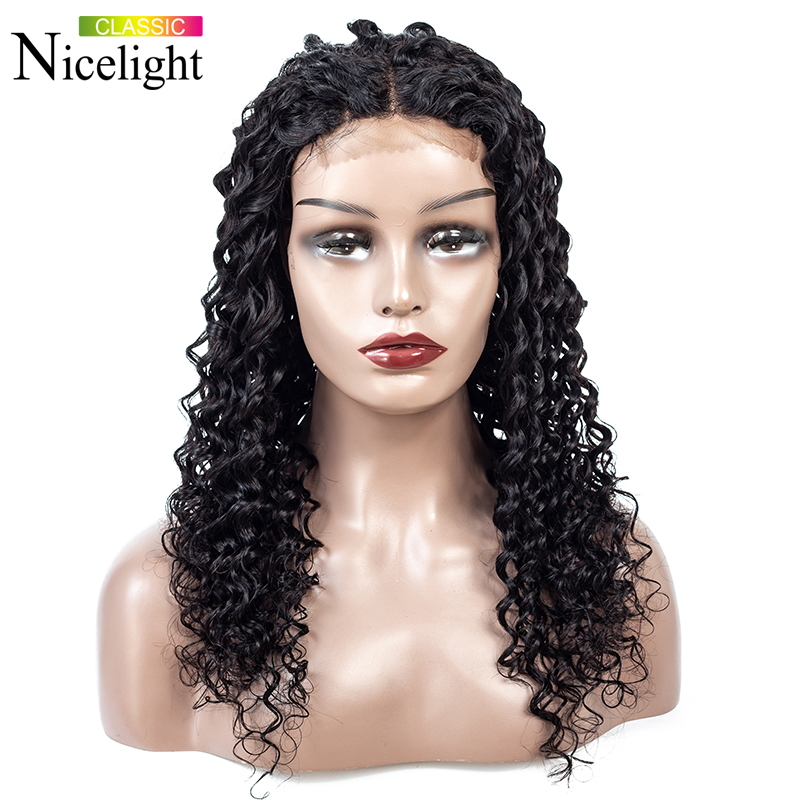 Deep Wave Wig With Closure 4X4 Remy Closure Wig Human Hair Wig Nicelight Indian Real Hair Wig Lace Wigs For Black Women