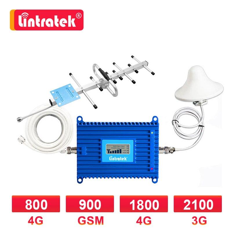 Усилитель сотовой связи Lintratek 70 дБ LTE 1800 МГц 3g 2100 WCDMA GSM 900 МГц 4G LTE 800 МГц Band 20 репитер усилитель сигнала Комплект Яги 8