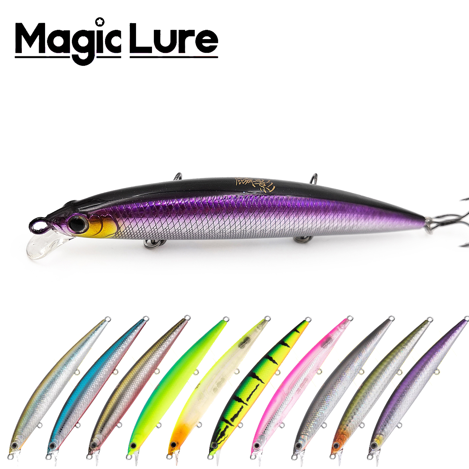 Magic Lure Brand Newest Kylin L115F Floating Jerkbait Minnow lure artificial plastic wobbler baits for pike bass fish fishing(China)