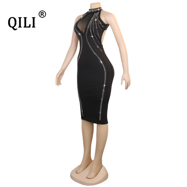 QILI Women Sexy Party Dress Sleeveless Backless Diamonds Rhinestone Dresses Black See Through Mesh Bodycon Dress Femme S-5XL 8