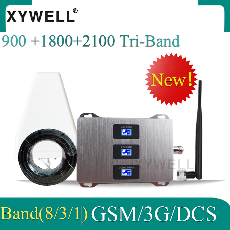 Hot!! 900 1800 2100 Tri-Band Mobile Signal Booster Gsm 4g Signal Booster DCS LTE GSM 2g 3g 4g Cellular Signal Repeater Amplifier