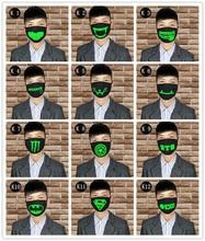 1PCS Unisex Halloween Party Luminous Face Masks Decor Pattern Solid Black Mask Half Mouth Muffle