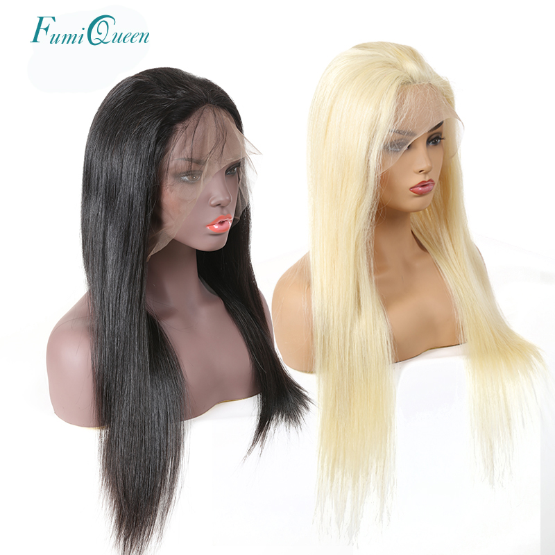 Straight Full Lace Wigs Pre Plucked With Baby Hair 130% Denisty 1b Or Blonde 613 Brazilian Remy Hair FumiQueen Human Hair Wigs