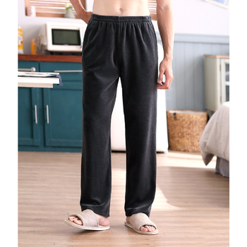 Men Solid Thin Spring Summer Home Pants Male Cotton Middle Waist Sleep Bottoms Casual Pants
