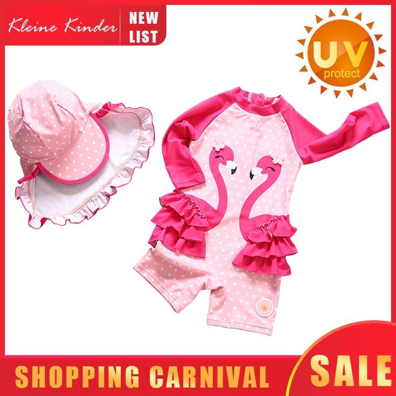Baby Swimwear Long Sleeve Flamingo Print Child Bathing Suit Girl UPF50 Toddler Children Swimming Suit Girls Swimsuit Beach Wear