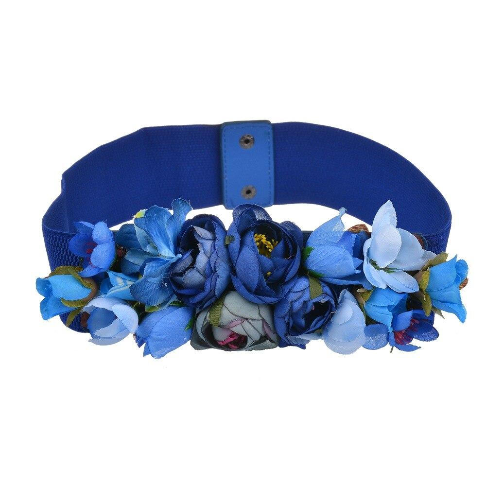 Fashion Women Elastic Wide Corset Belt For Women Glass Crystal Ceinture Ladies Thin Flower Inlaid Belt Waist Girdle BW22