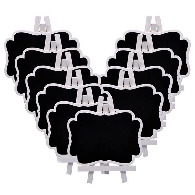 Small Chalkboard Easel,10 Pcs Wood Framed Rectangle Message Board Signs Place Cards For Weddings, Parties, Table Numbers, Food
