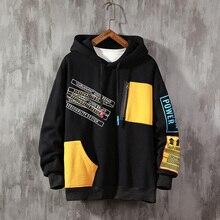 2019 Autumn Large Size patchwork Hoodie Men color block sweatshirt  Brand Trend Contrast Color Stitching Long Sleeve Men contrast checked sleeve hoodie sweatshirt