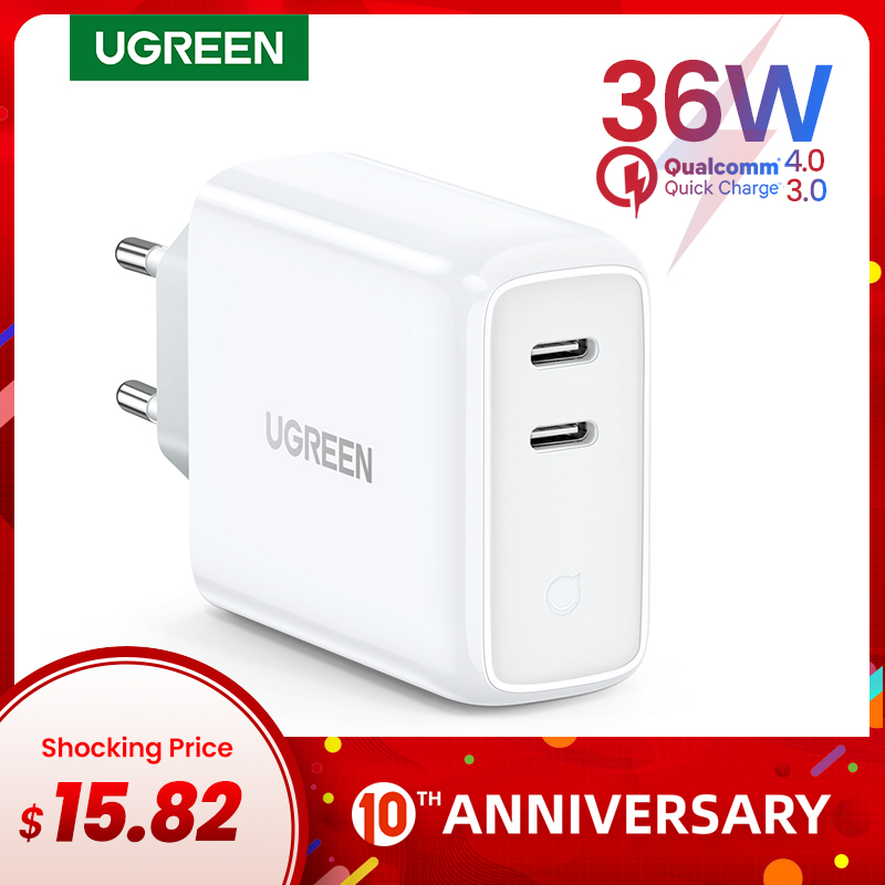 Ugreen PD36W USB PD Charger Quick Charge 4.0 3.0 For IPhone 11 Pro XS Macbook IPad QC 3.0 USB Type C Charger For Huawei Charger