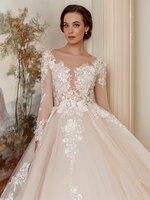 Vestido De novia 2019 romántico cuello redondo encaje espalda princesa encaje traje de novia vestidos De novia Vestido de novia XF17032-1