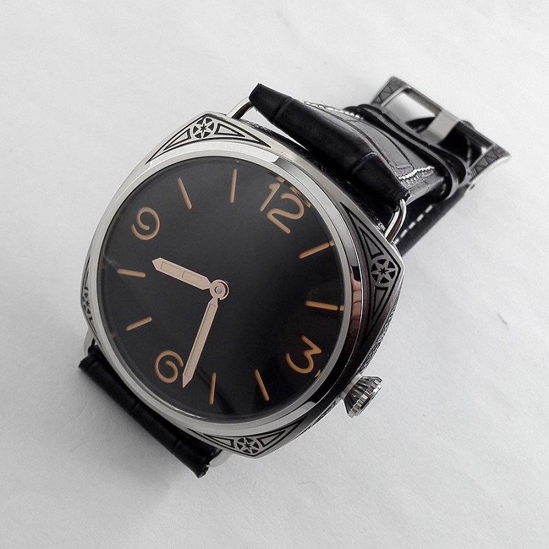 Watch Men 47mm Seagull Movement Black Dial carving military Mechanical Leather hand winding Watch Florence