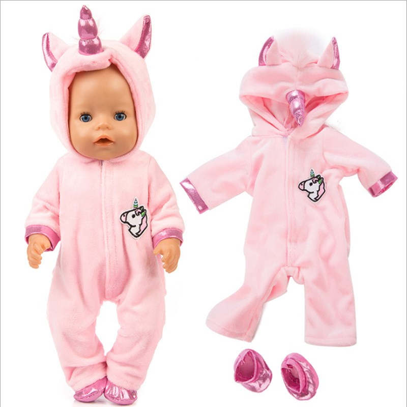 Fit 18 Inch 43cm Doll Clothes Born New Baby Doll Pink Blue Unicorn Mermaid Camel Clothes Doll Accessories For Baby Gift