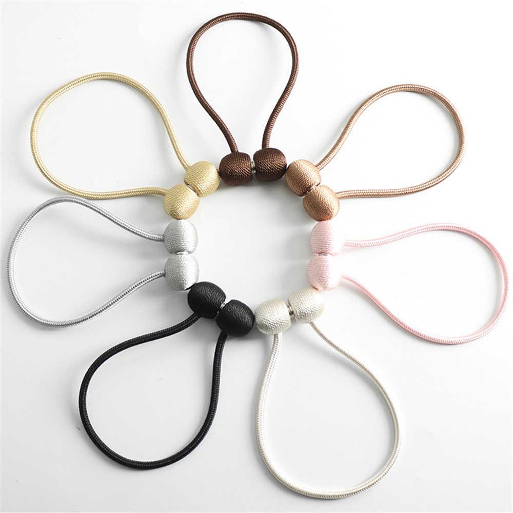 2 adet yaratıcı manyetik perde Tiebacks klipler alaşım örgü desen kravat tokaları kelepçeleri perde kravat halka ile yedekler top mıknatıs