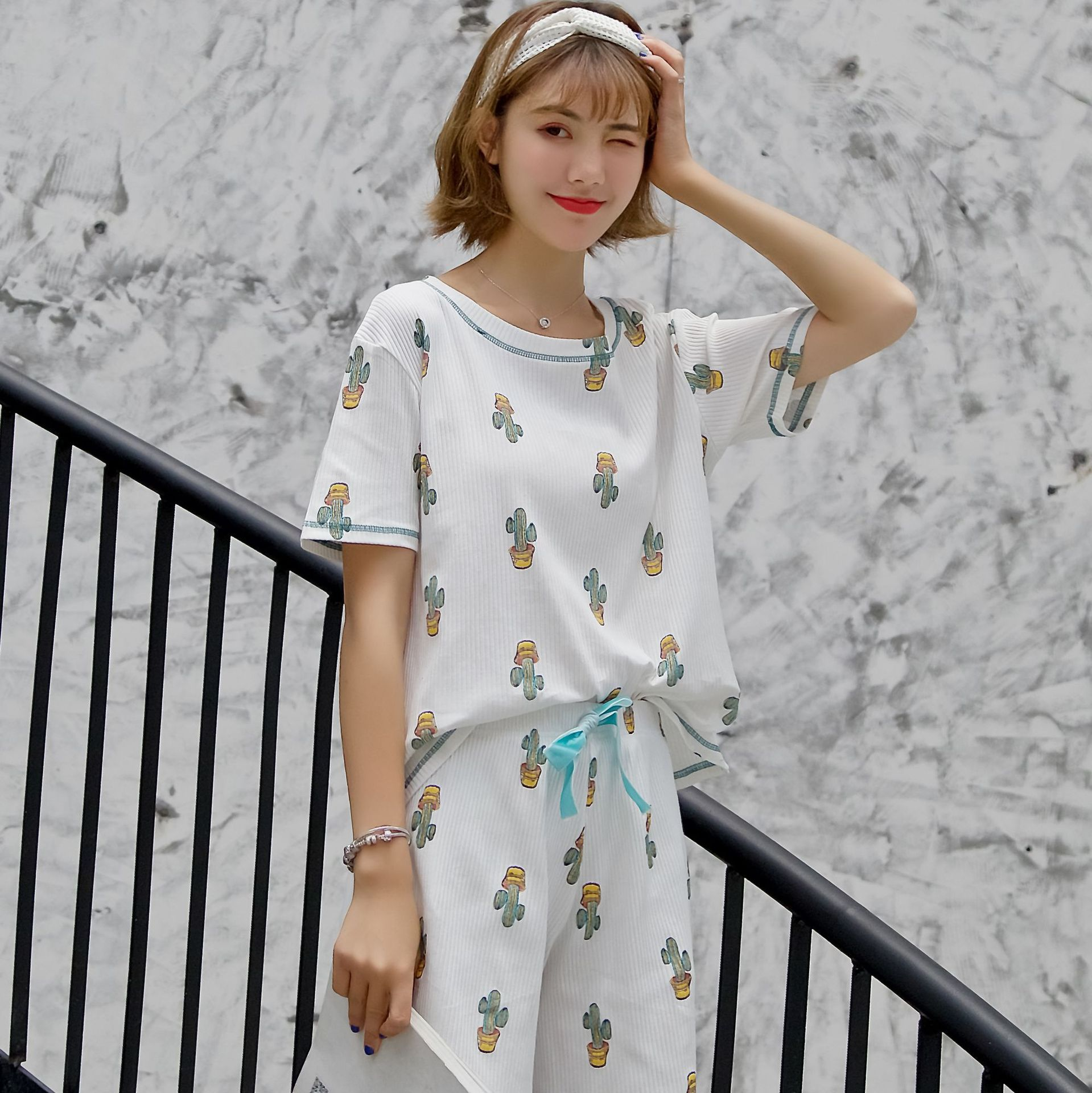 2019 Pure Cotton Pajamas Women's Summer Outer Wear Casual Short Sleeve Shorts Cotton Sunken Stripe Cactus Printed Homewear Set