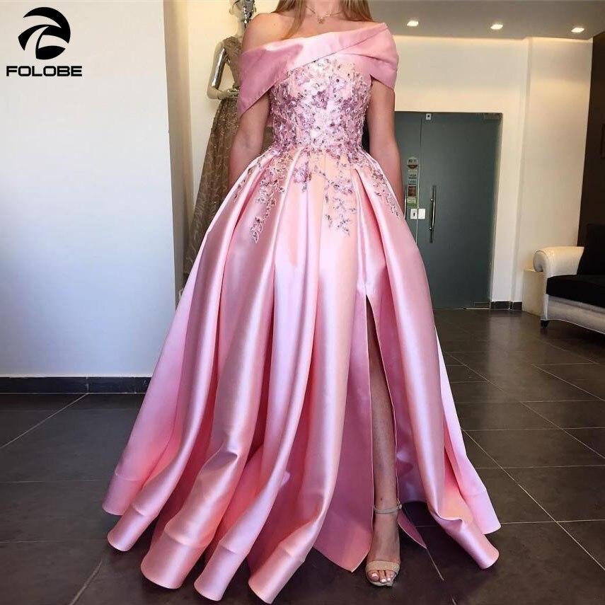 2020 New Arabic Pink Evening Dresses Long Off The Shoulder Side Split Prom Dress Satin Beads Appliques Long Dubai Party Gowns