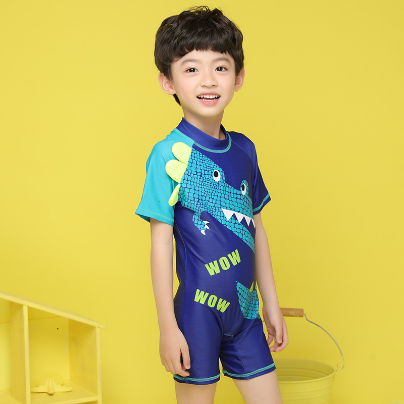 2020 KID'S Swimwear One-piece Boxer Shorts BOY'S Crocodile Cartoon Swimwear With Swim Cap Tour Bathing Suit