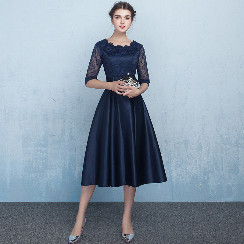 Navy Blue Lace Body Bridesmaid Dresses A Line Formal Half Sleeves Simple Wedding Guest Party Dress  JQ629