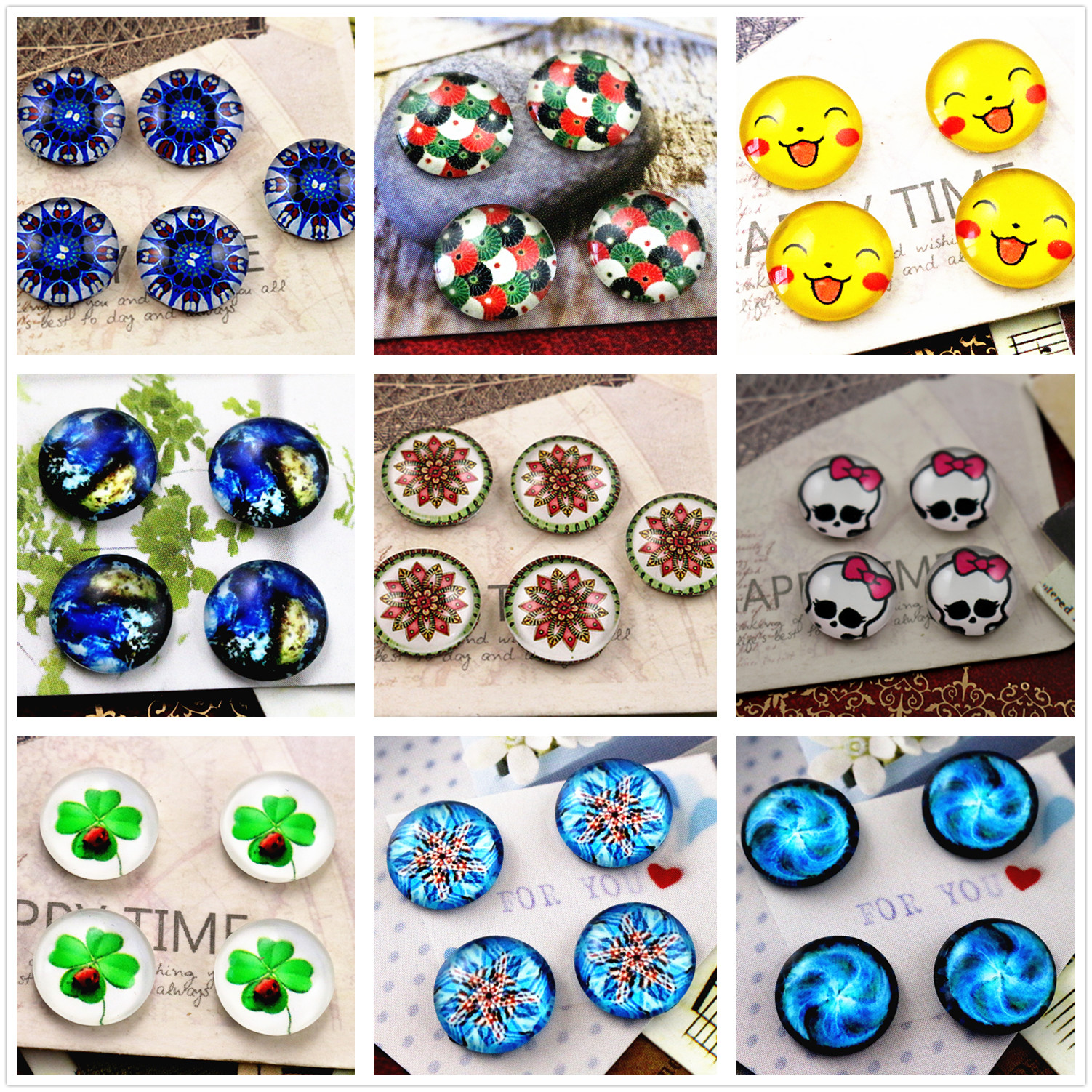New Fashion 20pcs 12mm Handmade Photo Glass Cabochons Fashion Pictures