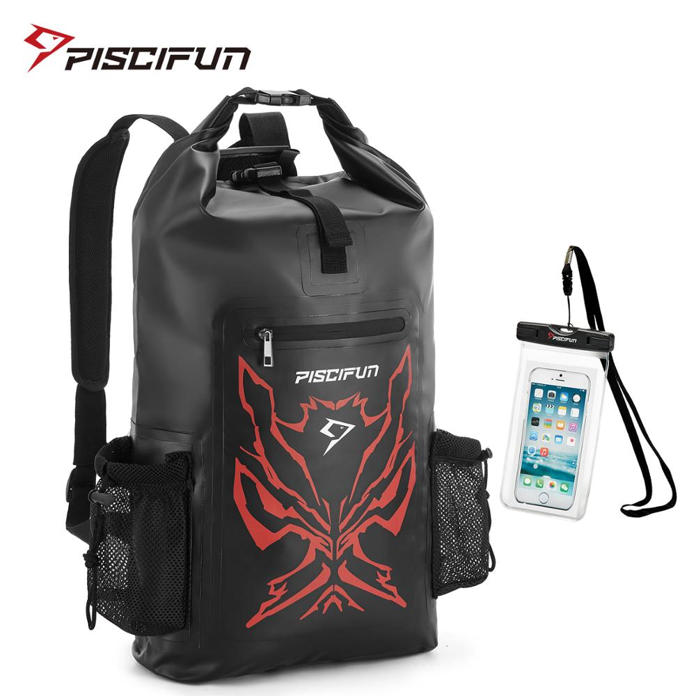 Piscifun Angry Face Dry Backpack with Waterproof Phone Case Dry Bag for Fishing Boating Swimming canoeing Camping Hiking