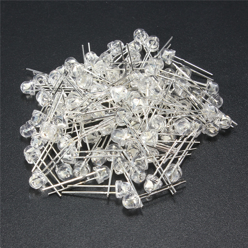 100Pcs 5mm LED Diode DIY Kit White Yellow Red Blue Green Purple Straw Hat LED Wide Angle Light Emitting Diodes Water Clear