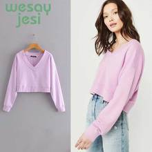 Women autumn and winter Pullovers Harajuku cute Solid Color Tops Womens Sweatshirt Long-sleeved Coat