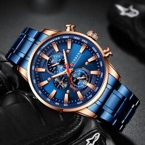 Image 2 - Nieuwe Chronograaf Quartz Horloge Curren Rvs Datum Horloge Klok Mannelijke Lichtgevende Horloges Relogio Masculino