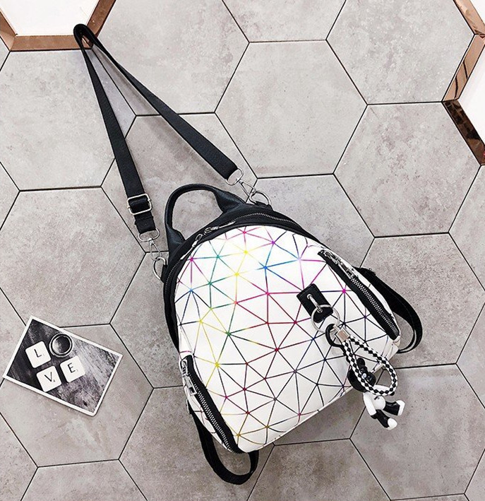 Women Bag  Backpack  Fashion  Travelling Bag  Student  Geometric Figure  Sweet Ladylike White Black