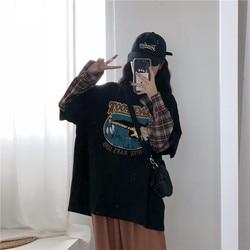 Ropa de mujer 2019 nuevo estilo coreano de corte holgado adelgazamiento Vintage impreso Junta Mock de dos piezas de manga larga Camiseta de las mujeres